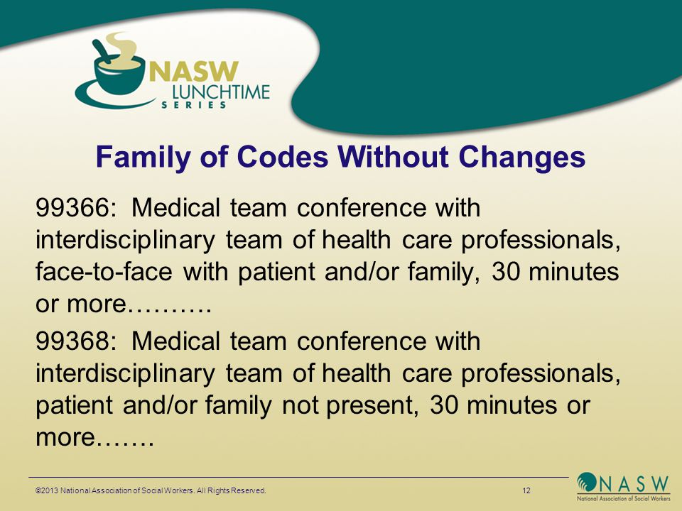 Family of Codes Without Changes 99366: Medical team conference with interdisciplinary team of health care professionals, face-to-face with patient and