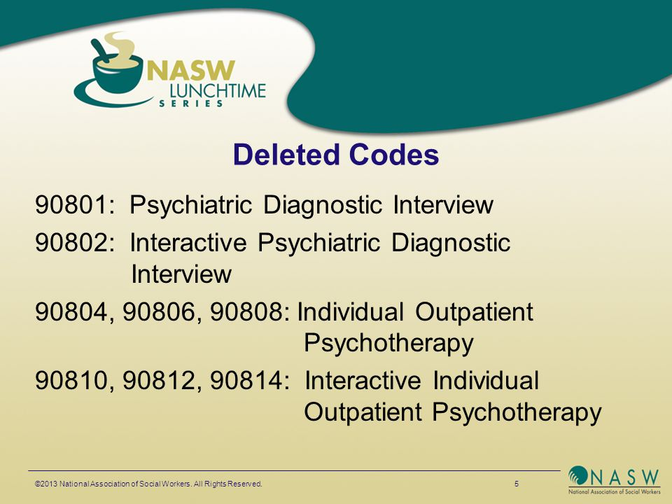 Deleted Codes 90816, 90818, 90821: Residential Individual Outpatient Psychotherapy 90823, 90826, 90828: Interactive Individual Outpatient Psychotherapy 90857: Interactive Group Psychotherapy ©2013 National Association of Social Workers.