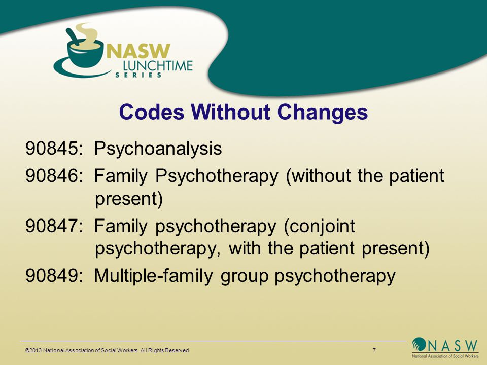 Codes Without Changes 90845: Psychoanalysis 90846: Family Psychotherapy (without the patient present) 90847: Family psychotherapy (conjoint psychother