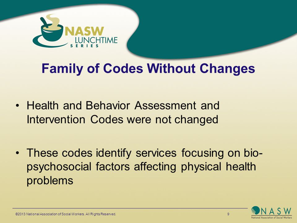 Family of Codes Without Changes Health and Behavior Assessment and Intervention Codes were not changed These codes identify services focusing on bio-