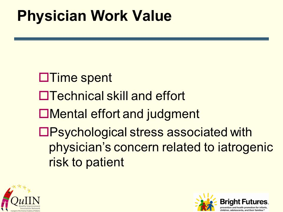 Physician Work Value  Time spent  Technical skill and effort  Mental effort and judgment  Psychological stress associated with physician's concern related to iatrogenic risk to patient