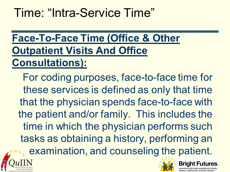 """Time: """"Intra-Service Time"""" Face-To-Face Time (Office & Other Outpatient Visits And Office Consultations): For coding purposes, face-to-face time for t"""