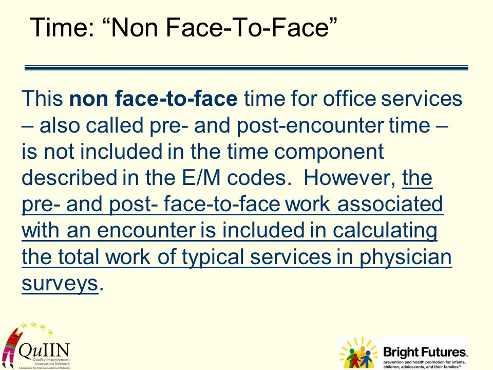 """Time: """"Non Face-To-Face"""" This non face-to-face time for office services – also called pre- and post-encounter time – is not included in the time compo"""