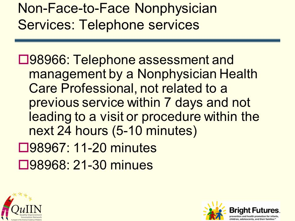 Non-Face-to-Face Nonphysician Services: Telephone services  98966: Telephone assessment and management by a Nonphysician Health Care Professional, not related to a previous service within 7 days and not leading to a visit or procedure within the next 24 hours (5-10 minutes)  98967: 11-20 minutes  98968: 21-30 minues