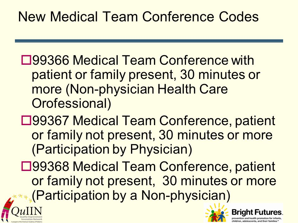 New Medical Team Conference Codes  99366 Medical Team Conference with patient or family present, 30 minutes or more (Non-physician Health Care Orofessional)  99367 Medical Team Conference, patient or family not present, 30 minutes or more (Participation by Physician)  99368 Medical Team Conference, patient or family not present, 30 minutes or more (Participation by a Non-physician)