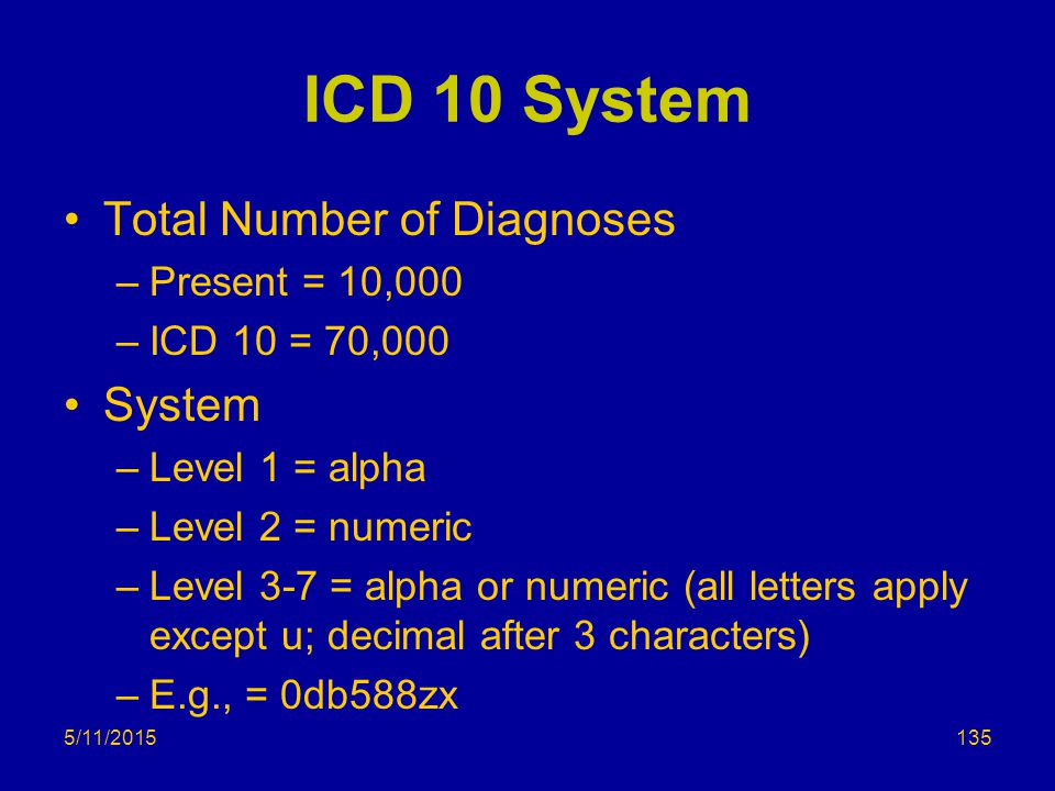 ICD 10 System Total Number of Diagnoses –Present = 10,000 –ICD 10 = 70,000 System –Level 1 = alpha –Level 2 = numeric –Level 3-7 = alpha or numeric (all letters apply except u; decimal after 3 characters) –E.g., = 0db588zx 5/11/2015135