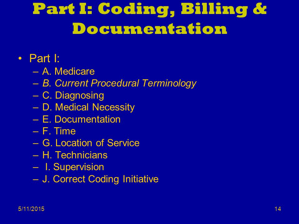 5/11/2015 Part I: Coding, Billing & Documentation Part I: –A.