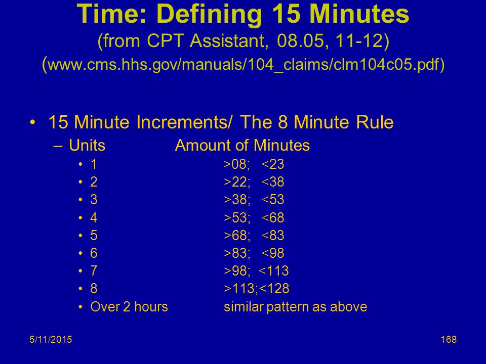 5/11/2015 Time: Defining 15 Minutes (from CPT Assistant, 08.05, 11-12) ( www.cms.hhs.gov/manuals/104_claims/clm104c05.pdf) 15 Minute Increments/ The 8 Minute Rule –UnitsAmount of Minutes 1 >08; <23 2>22; <38 3>38; <53 4>53; <68 5>68; <83 6>83; <98 7>98; <113 8>113;<128 Over 2 hourssimilar pattern as above 168