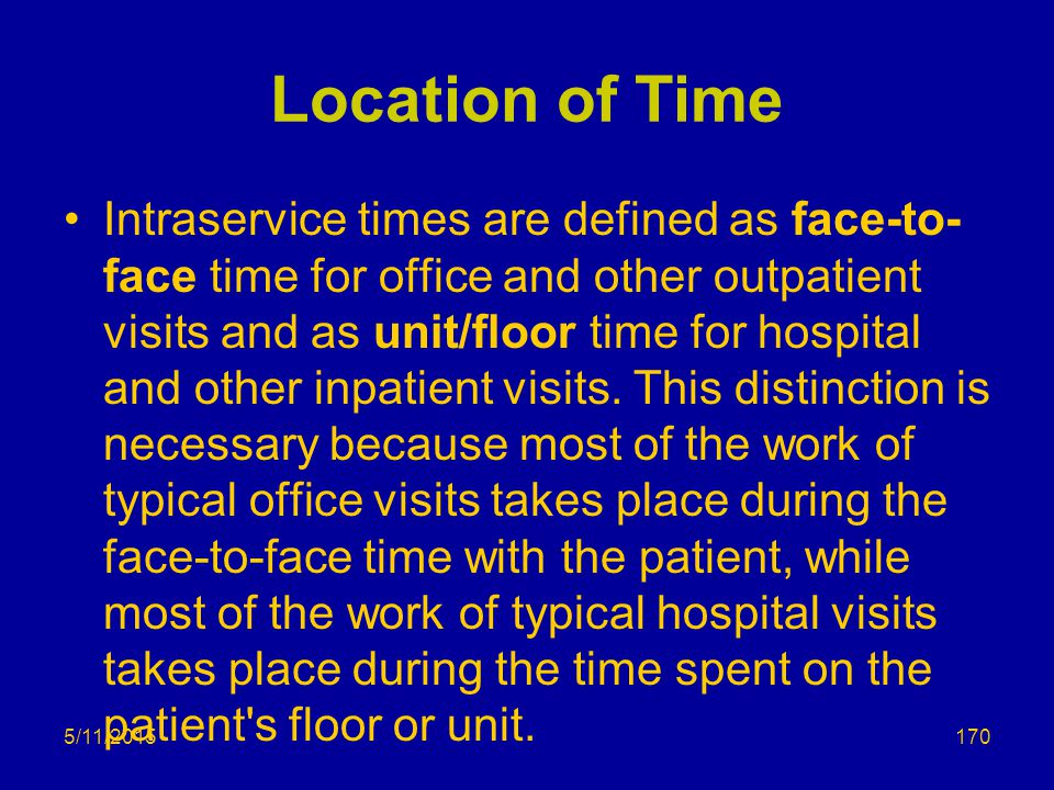 Location of Time Intraservice times are defined as face-to- face time for office and other outpatient visits and as unit/floor time for hospital and other inpatient visits.