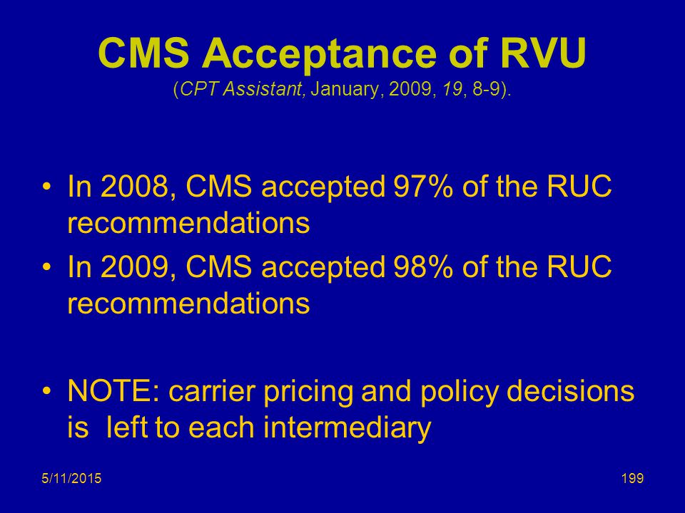 5/11/2015 CMS Acceptance of RVU (CPT Assistant, January, 2009, 19, 8-9).