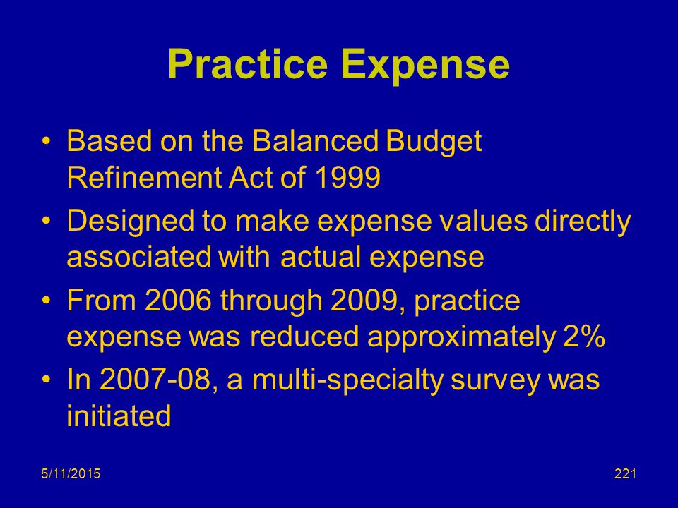 Practice Expense Based on the Balanced Budget Refinement Act of 1999 Designed to make expense values directly associated with actual expense From 2006 through 2009, practice expense was reduced approximately 2% In 2007-08, a multi-specialty survey was initiated 5/11/2015221