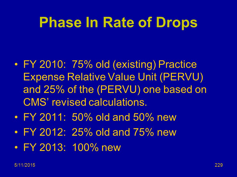 Phase In Rate of Drops FY 2010: 75% old (existing) Practice Expense Relative Value Unit (PERVU) and 25% of the (PERVU) one based on CMS' revised calculations.