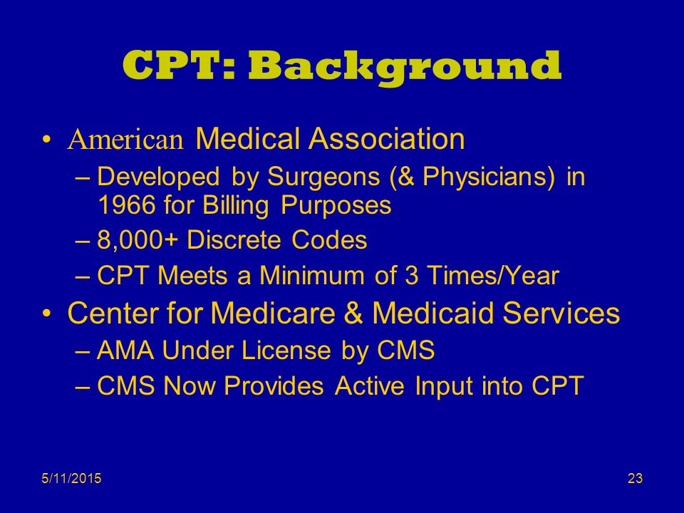 5/11/2015 CPT: Background American Medical Association –Developed by Surgeons (& Physicians) in 1966 for Billing Purposes –8,000+ Discrete Codes –CPT Meets a Minimum of 3 Times/Year Center for Medicare & Medicaid Services –AMA Under License by CMS –CMS Now Provides Active Input into CPT 23