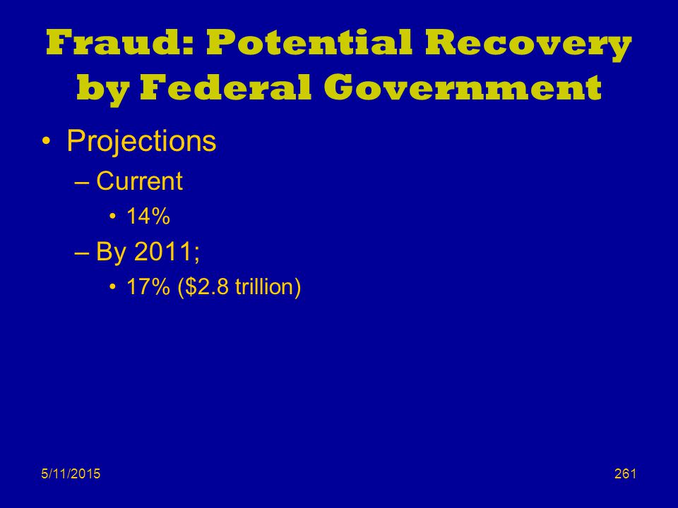 5/11/2015 Fraud: Potential Recovery by Federal Government Projections –Current 14% –By 2011; 17% ($2.8 trillion) 261