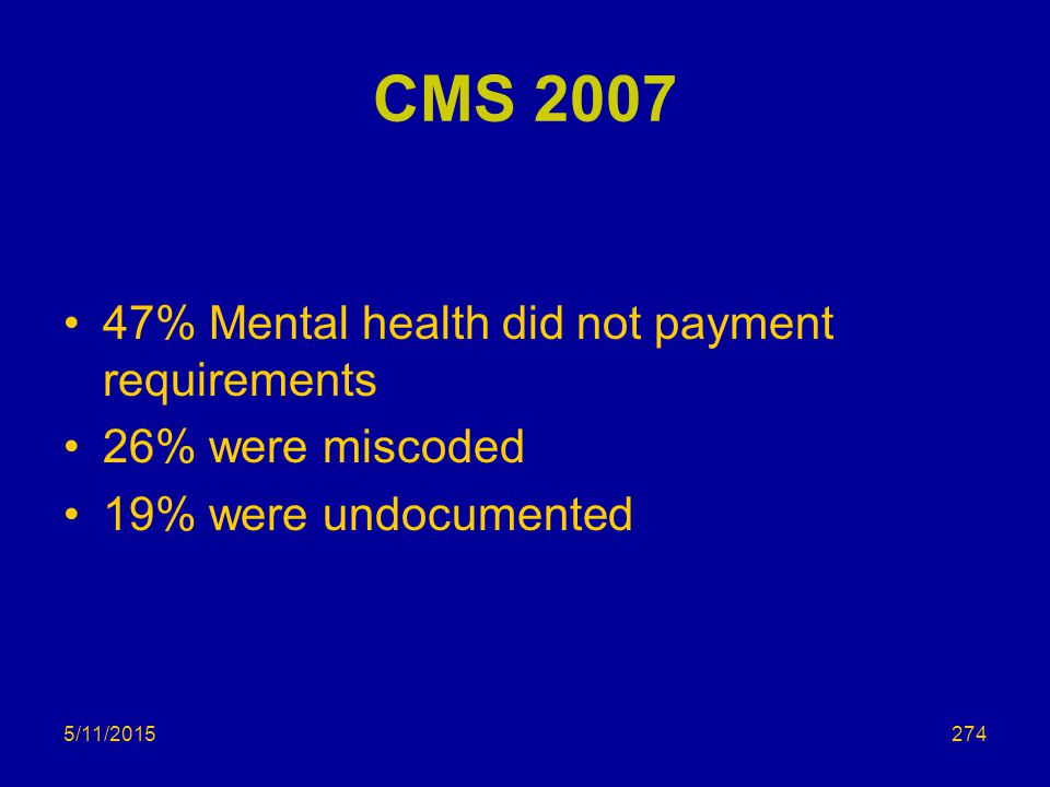 CMS 2007 47% Mental health did not payment requirements 26% were miscoded 19% were undocumented 5/11/2015274