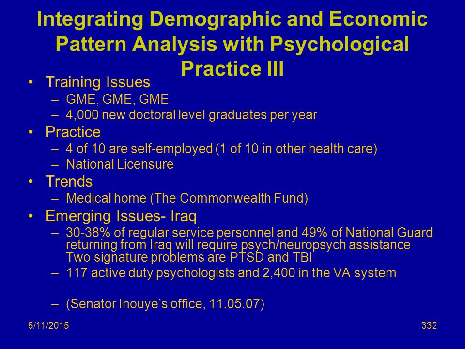 5/11/2015 Integrating Demographic and Economic Pattern Analysis with Psychological Practice III Training Issues –GME, GME, GME –4,000 new doctoral level graduates per year Practice –4 of 10 are self-employed (1 of 10 in other health care) –National Licensure Trends –Medical home (The Commonwealth Fund) Emerging Issues- Iraq –30-38% of regular service personnel and 49% of National Guard returning from Iraq will require psych/neuropsych assistance Two signature problems are PTSD and TBI –117 active duty psychologists and 2,400 in the VA system –(Senator Inouye's office, 11.05.07) 332