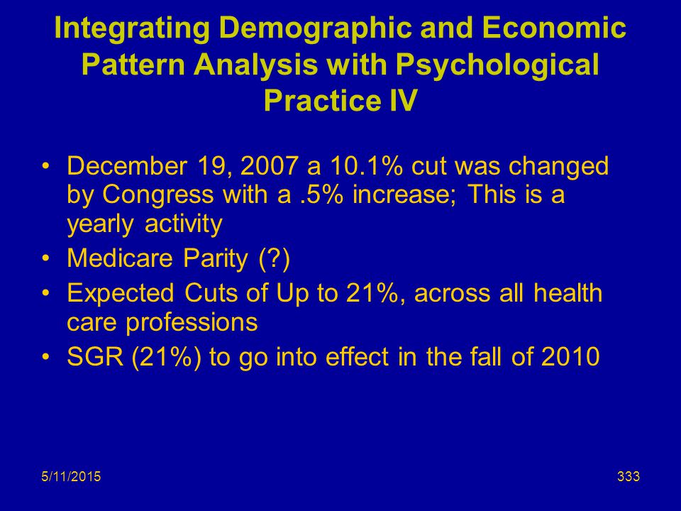 5/11/2015 Integrating Demographic and Economic Pattern Analysis with Psychological Practice IV December 19, 2007 a 10.1% cut was changed by Congress with a.5% increase; This is a yearly activity Medicare Parity (?) Expected Cuts of Up to 21%, across all health care professions SGR (21%) to go into effect in the fall of 2010 333