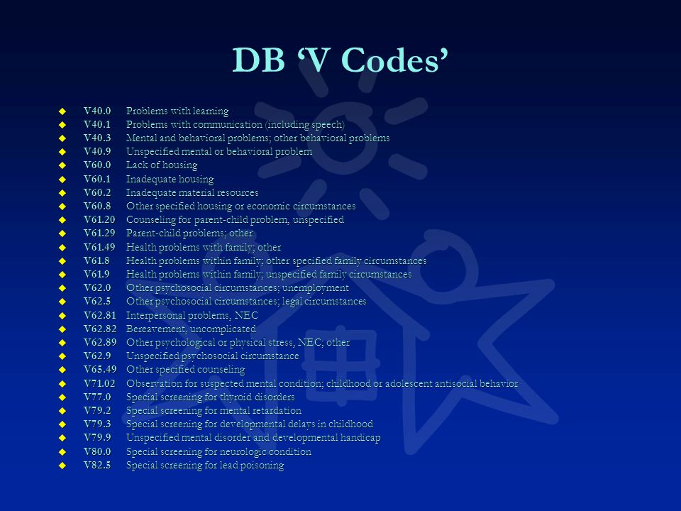DB 'V Codes' u V40.0Problems with learning u V40.1Problems with communication (including speech) u V40.3Mental and behavioral problems; other behavioral problems u V40.9Unspecified mental or behavioral problem u V60.0Lack of housing u V60.1Inadequate housing u V60.2Inadequate material resources u V60.8Other specified housing or economic circumstances u V61.20Counseling for parent-child problem, unspecified u V61.29Parent-child problems; other u V61.49Health problems with family; other u V61.8Health problems within family; other specified family circumstances u V61.9Health problems within family; unspecified family circumstances u V62.0Other psychosocial circumstances; unemployment u V62.5Other psychosocial circumstances; legal circumstances u V62.81Interpersonal problems, NEC u V62.82Bereavement, uncomplicated u V62.89Other psychological or physical stress, NEC; other u V62.9Unspecified psychosocial circumstance u V65.49Other specified counseling u V71.02Observation for suspected mental condition; childhood or adolescent antisocial behavior u V77.0Special screening for thyroid disorders u V79.2Special screening for mental retardation u V79.3Special screening for developmental delays in childhood u V79.9Unspecified mental disorder and developmental handicap u V80.0Special screening for neurologic condition u V82.5Special screening for lead poisoning