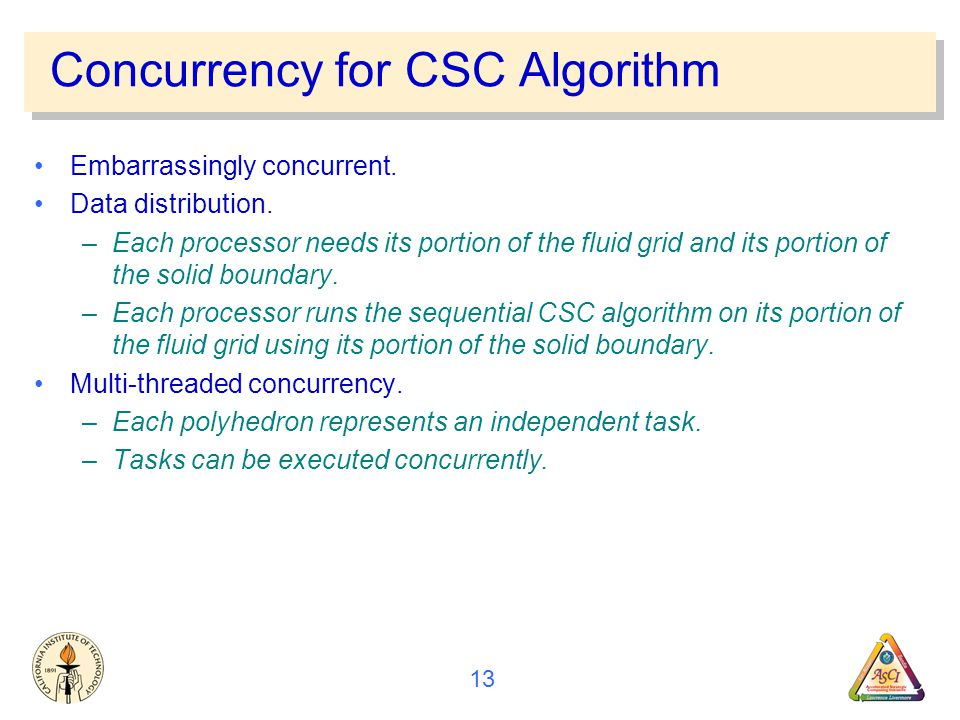 13 Concurrency for CSC Algorithm Embarrassingly concurrent.
