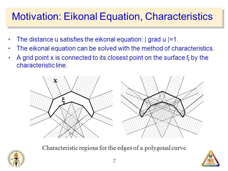 7 Motivation: Eikonal Equation, Characteristics The distance u satisfies the eikonal equation: | grad u |=1.