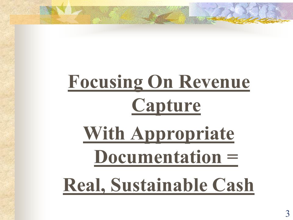 14 Revenue Opportunities w/in the CDM Key to success is department ownership Key to success is understandable charge descriptors.