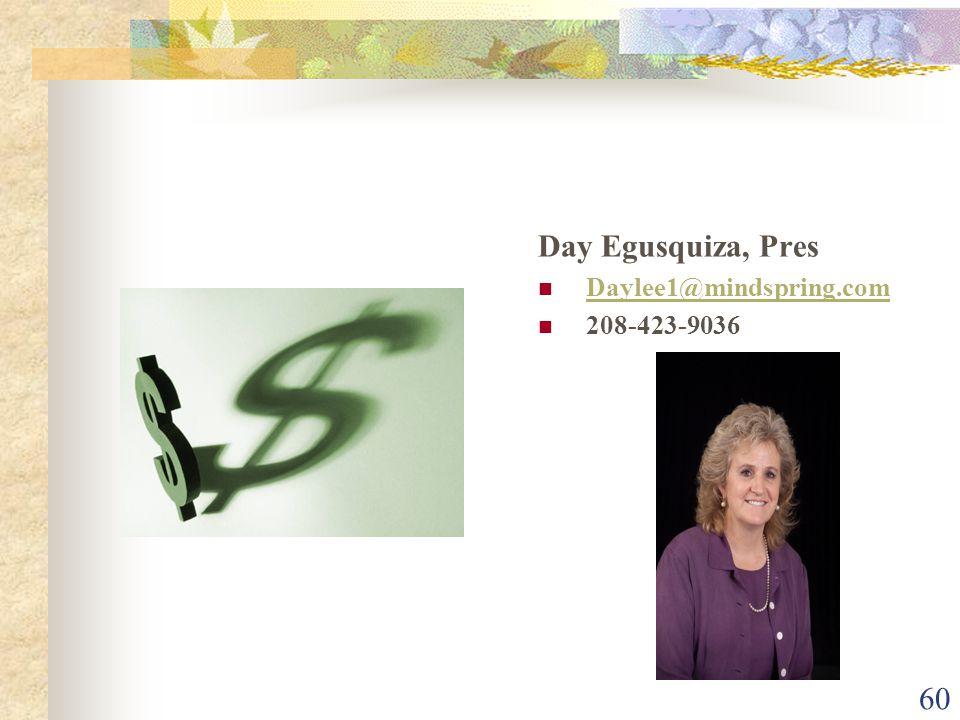 60 Day Egusquiza, Pres Daylee1@mindspring.com 208-423-9036