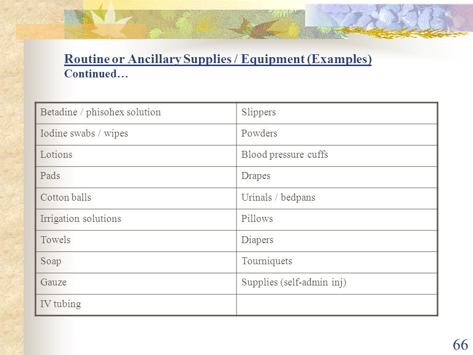66 Routine or Ancillary Supplies / Equipment (Examples) Continued… Betadine / phisohex solutionSlippers Iodine swabs / wipesPowders LotionsBlood pressure cuffs PadsDrapes Cotton ballsUrinals / bedpans Irrigation solutionsPillows TowelsDiapers SoapTourniquets GauzeSupplies (self-admin inj) IV tubing