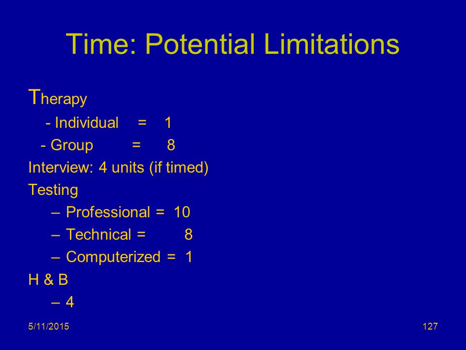 5/11/2015 Time: Potential Limitations T herapy - Individual = 1 - Group = 8 Interview: 4 units (if timed) Testing –Professional = 10 –Technical = 8 –C