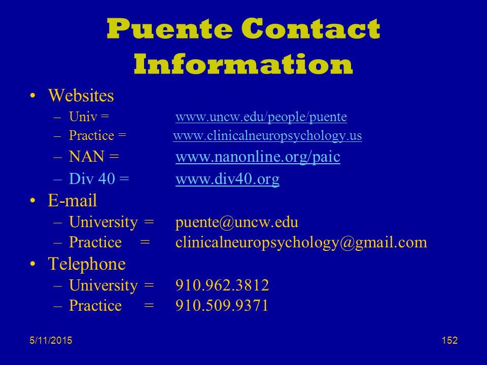 5/11/2015 Puente Contact Information Websites –Univ = www.uncw.edu/people/puente –Practice = www.clinicalneuropsychology.us –NAN = www.nanonline.org/p