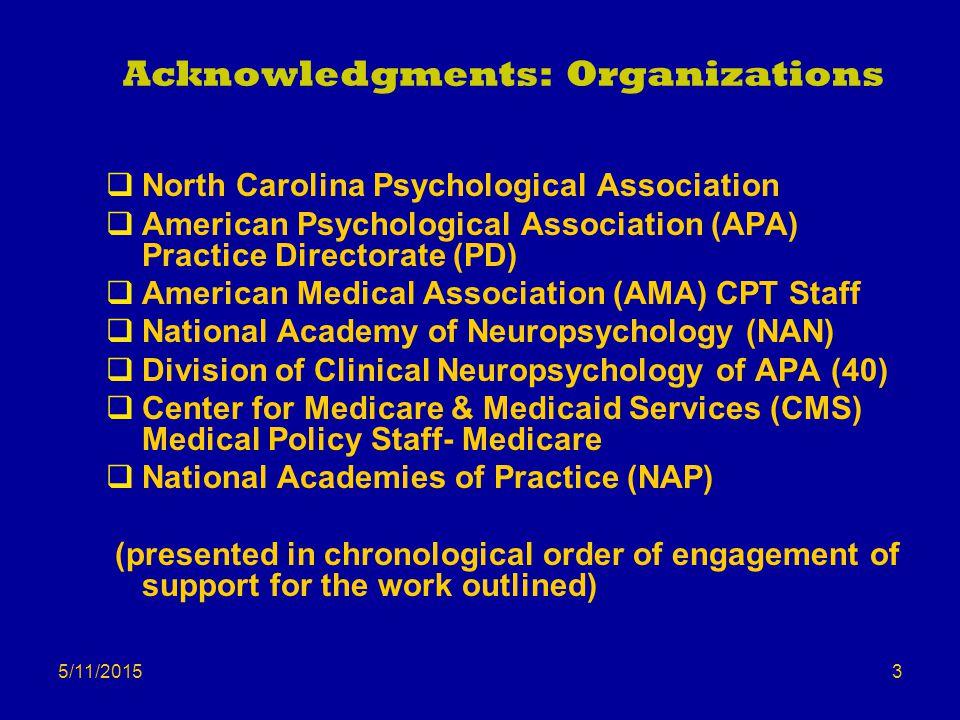 5/11/2015 Acknowledgments: Organizations  North Carolina Psychological Association  American Psychological Association (APA) Practice Directorate (P