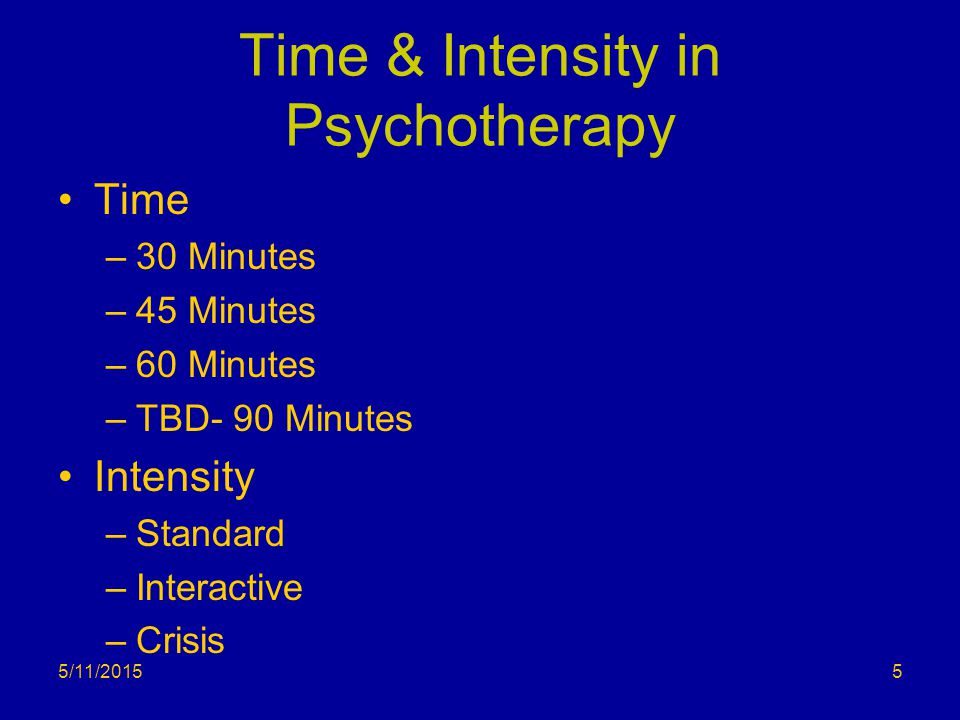Psychotherapy- Time II 30 minutes = 16-37 mins.45 minutes = 38-52 mins.