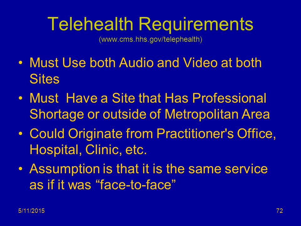 Telehealth Requirements (www.cms.hhs.gov/telephealth) Must Use both Audio and Video at both Sites Must Have a Site that Has Professional Shortage or o