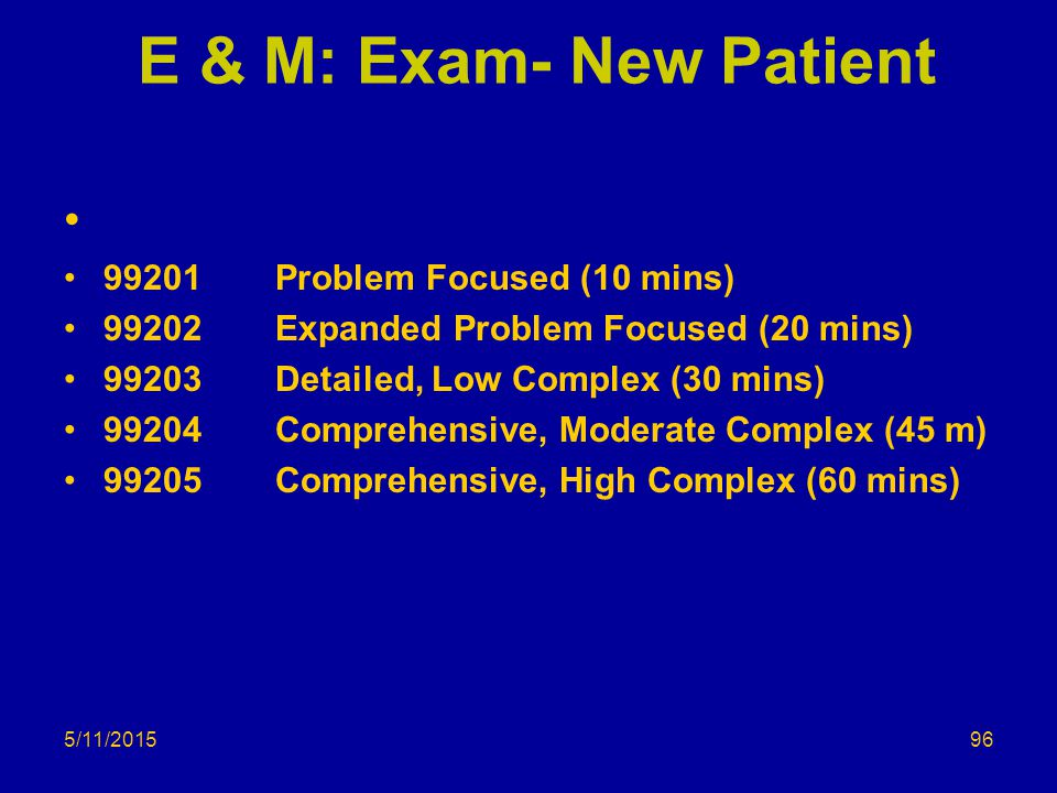 E & M: Exam- New Patient 99201Problem Focused (10 mins) 99202 Expanded Problem Focused (20 mins) 99203Detailed, Low Complex (30 mins) 99204Comprehensi