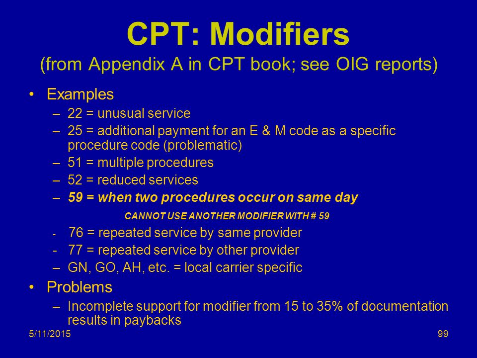 5/11/2015 CPT: Modifiers (from Appendix A in CPT book; see OIG reports) Examples –22 = unusual service –25 = additional payment for an E & M code as a