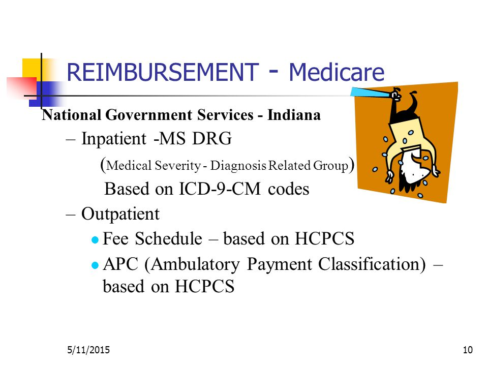 5/11/201510 REIMBURSEMENT - Medicare National Government Services - Indiana –Inpatient -MS DRG ( Medical Severity - Diagnosis Related Group ) Based on ICD-9-CM codes –Outpatient Fee Schedule – based on HCPCS APC (Ambulatory Payment Classification) – based on HCPCS