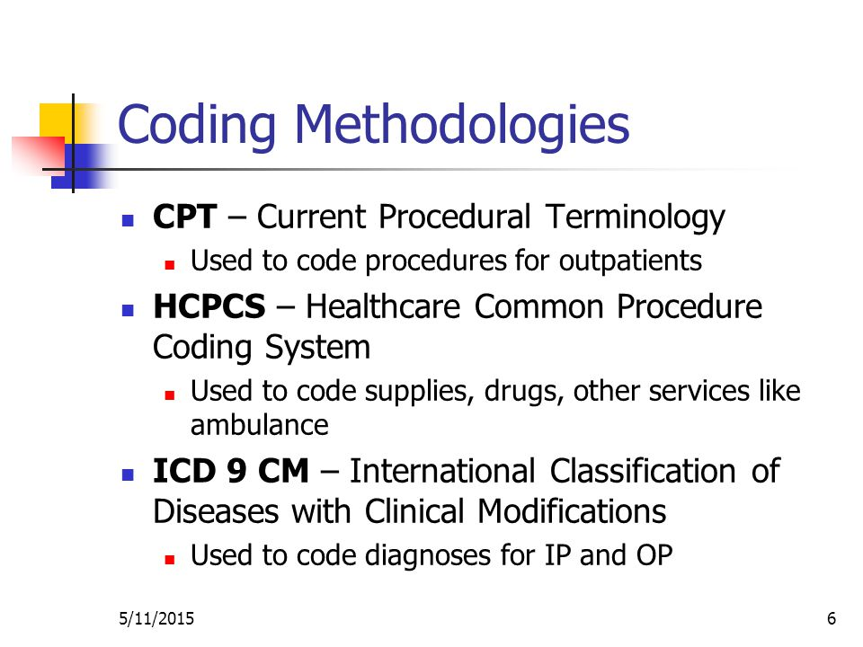 5/11/20156 Coding Methodologies CPT – Current Procedural Terminology Used to code procedures for outpatients HCPCS – Healthcare Common Procedure Coding System Used to code supplies, drugs, other services like ambulance ICD 9 CM – International Classification of Diseases with Clinical Modifications Used to code diagnoses for IP and OP