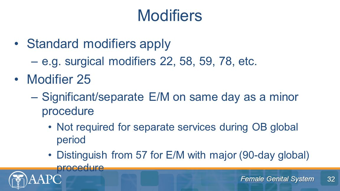 Female Genital System Standard modifiers apply –e.g.
