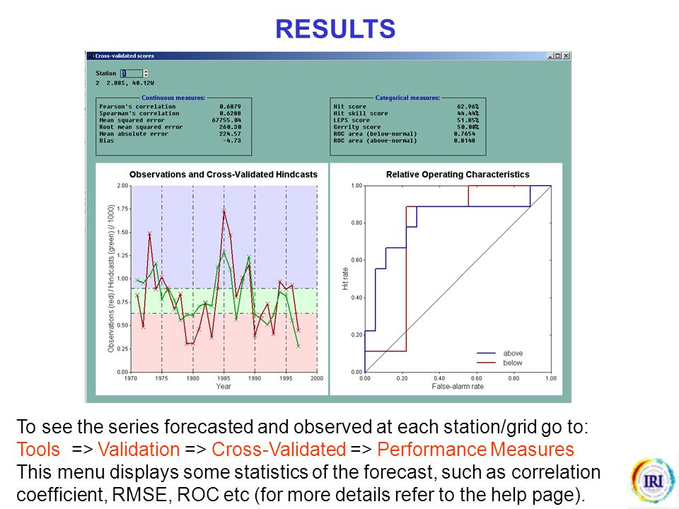 To see the series forecasted and observed at each station/grid go to: Tools => Validation => Cross-Validated => Performance Measures This menu display