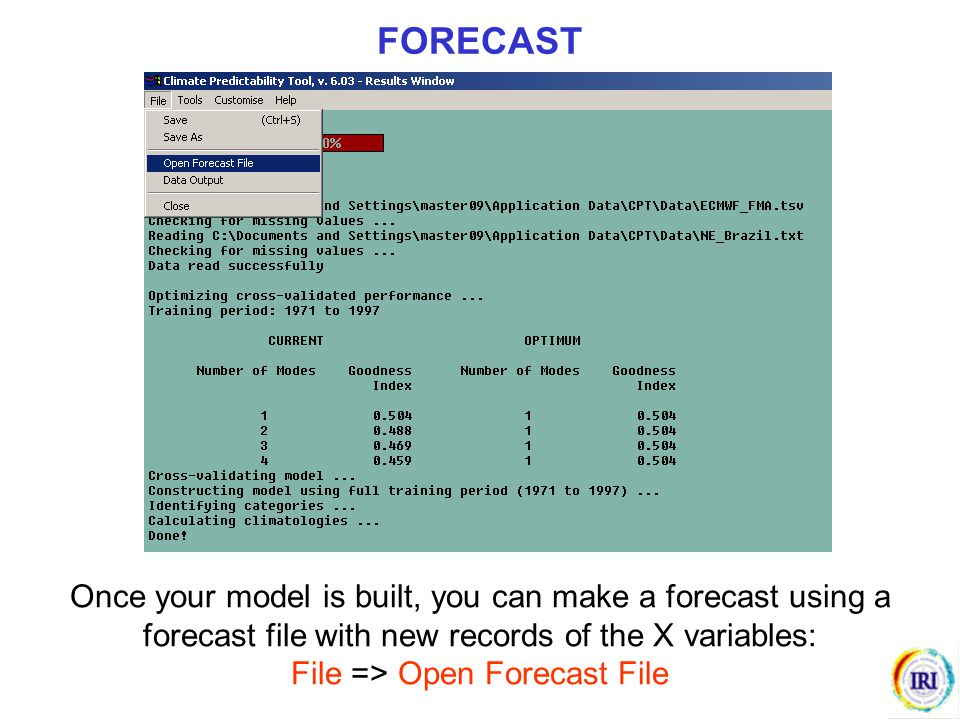 Once your model is built, you can make a forecast using a forecast file with new records of the X variables: File => Open Forecast File FORECAST