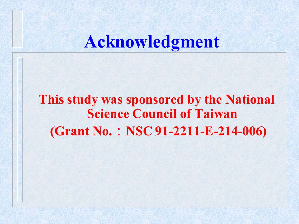 Acknowledgment This study was sponsored by the National Science Council of Taiwan (Grant No.