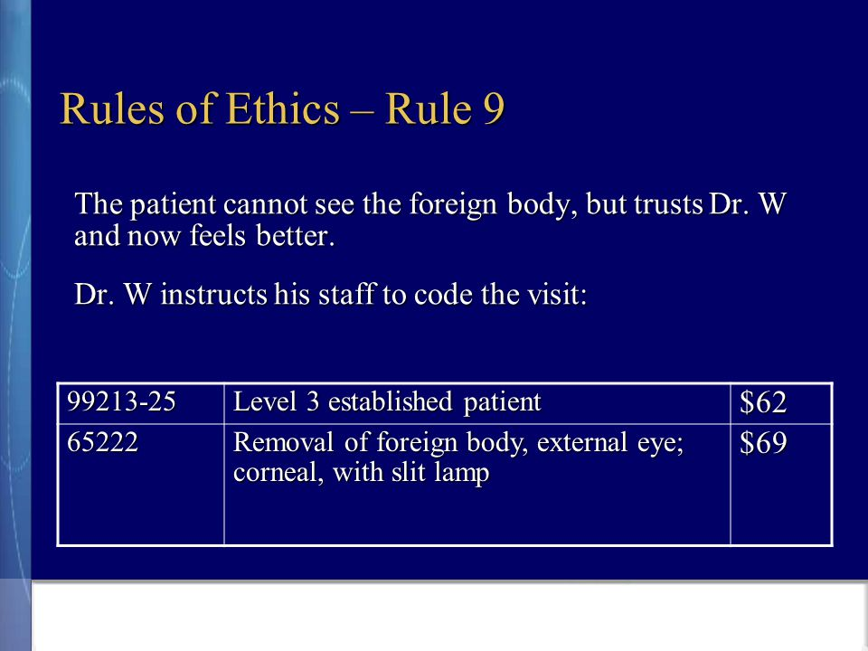 Rules of Ethics – Rule 9 The patient cannot see the foreign body, but trusts Dr.