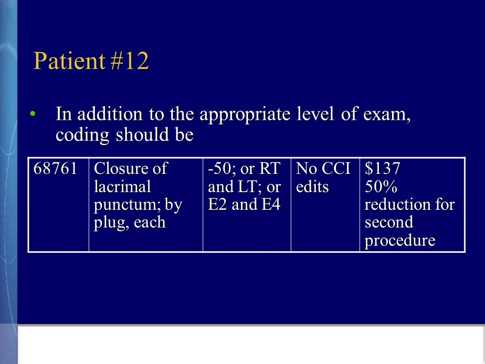Patient #12 In addition to the appropriate level of exam, coding should beIn addition to the appropriate level of exam, coding should be 68761 Closure of lacrimal punctum; by plug, each -50; or RT and LT; or E2 and E4 No CCI edits $137 50% reduction for second procedure