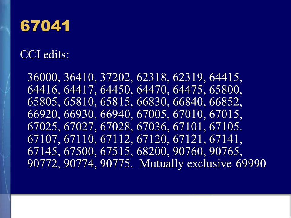 67041 CCI edits: 36000, 36410, 37202, 62318, 62319, 64415, 64416, 64417, 64450, 64470, 64475, 65800, 65805, 65810, 65815, 66830, 66840, 66852, 66920, 66930, 66940, 67005, 67010, 67015, 67025, 67027, 67028, 67036, 67101, 67105.