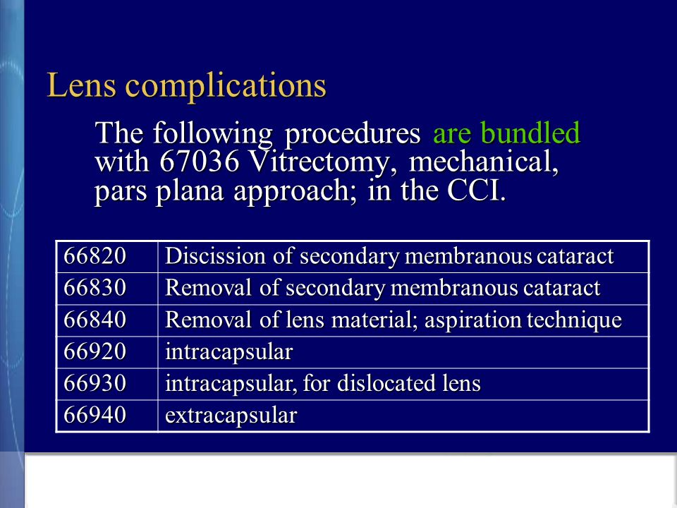 Lens complications The following procedures are bundled with 67036 Vitrectomy, mechanical, pars plana approach; in the CCI.
