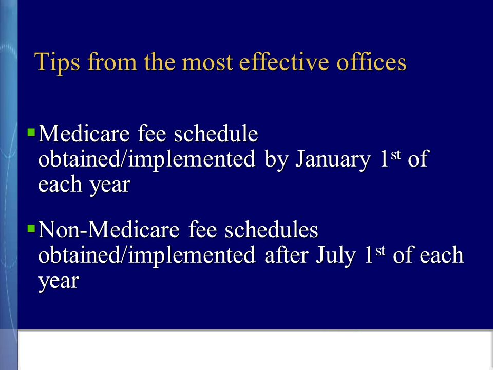  Medicare fee schedule obtained/implemented by January 1 st of each year  Non-Medicare fee schedules obtained/implemented after July 1 st of each year