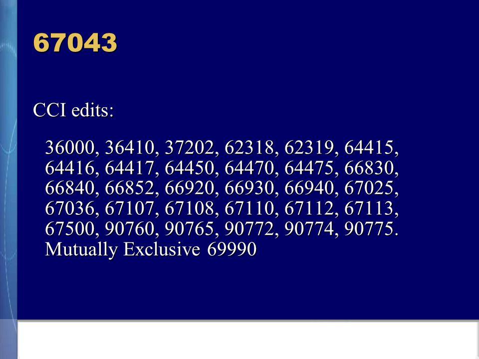 67043 CCI edits: 36000, 36410, 37202, 62318, 62319, 64415, 64416, 64417, 64450, 64470, 64475, 66830, 66840, 66852, 66920, 66930, 66940, 67025, 67036, 67107, 67108, 67110, 67112, 67113, 67500, 90760, 90765, 90772, 90774, 90775.