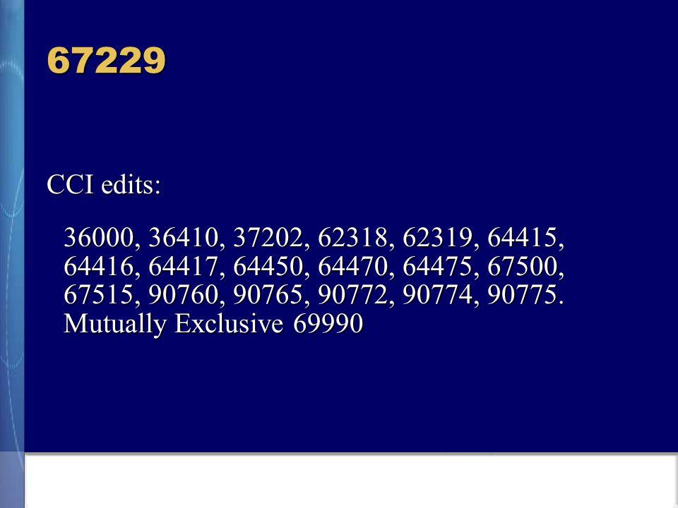 67229 CCI edits: 36000, 36410, 37202, 62318, 62319, 64415, 64416, 64417, 64450, 64470, 64475, 67500, 67515, 90760, 90765, 90772, 90774, 90775.