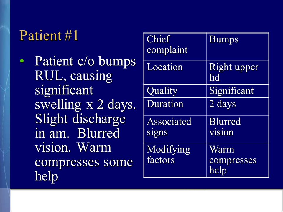 Patient #1 Patient c/o bumps RUL, causing significant swelling x 2 days.