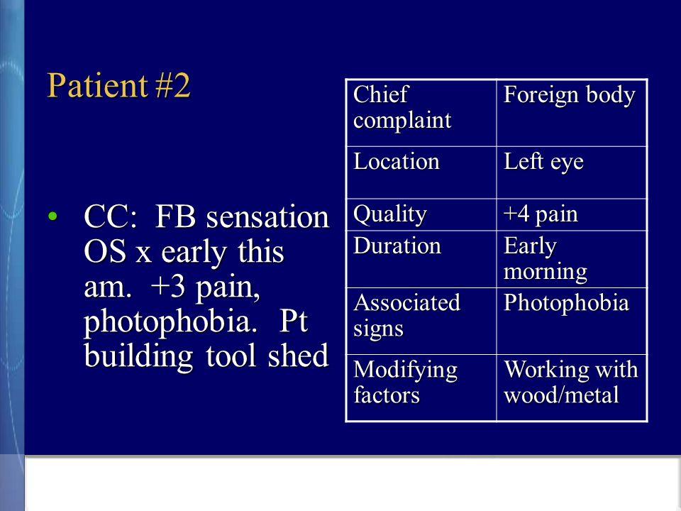 Patient #2 CC: FB sensation OS x early this am. +3 pain, photophobia.