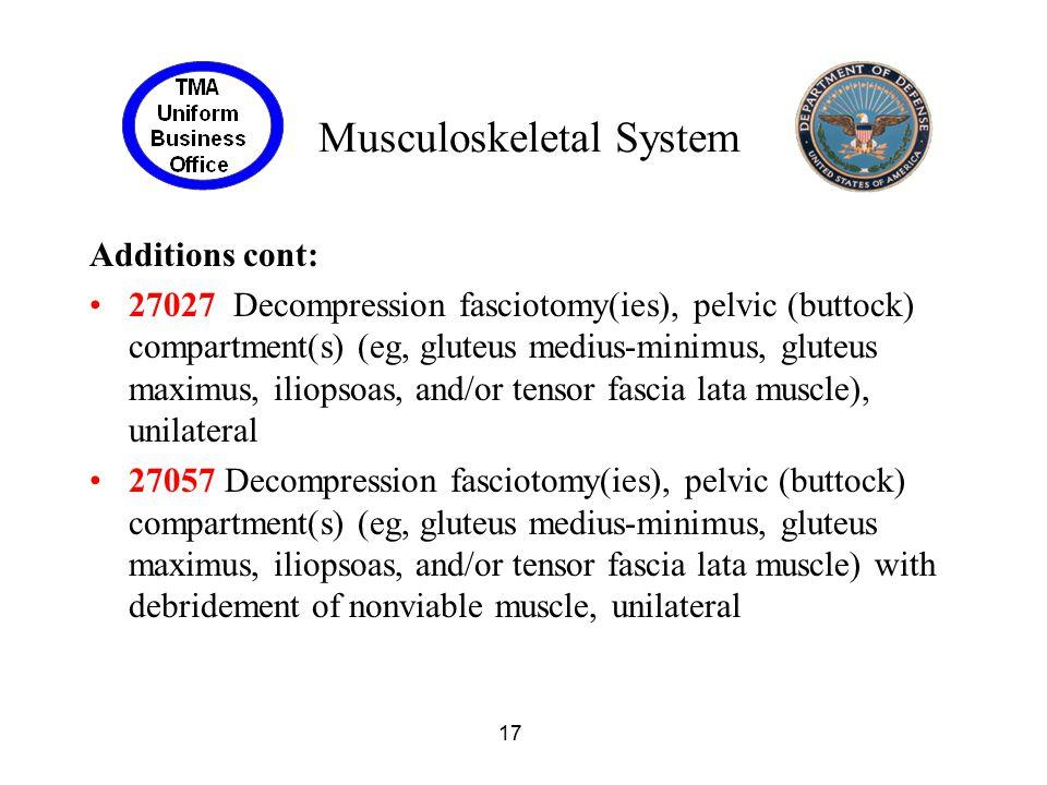 17 Musculoskeletal System Additions cont: 27027 Decompression fasciotomy(ies), pelvic (buttock) compartment(s) (eg, gluteus medius-minimus, gluteus ma